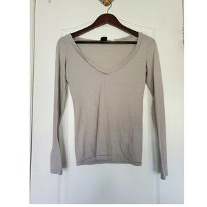 UO | BDG Grey V-Neck Long Sleeve
